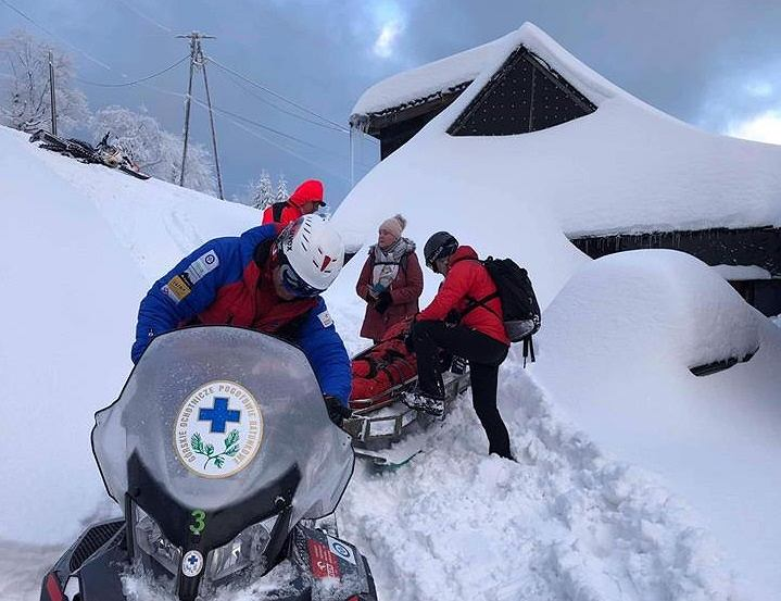 Ratownicy GOPR podczas akcji w Beskidach