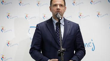 Rafał Trzaskowski na posiedzeniu sztabu kryzysowego ws. awarii ścieków w Warszawie