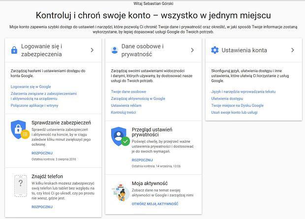 Moje konto Google - centralny panel zarządzania ustawieniami
