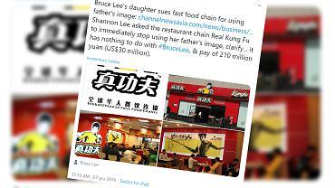 Córka Bruce'a Lee pozywa chińskiego fast fooda za wykorzystanie wizerunku ojca
