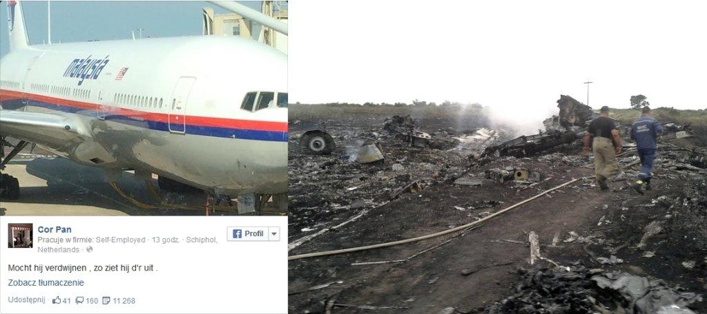 Wpis na Facebooku / Zdjęcie z miejsca katastrofy