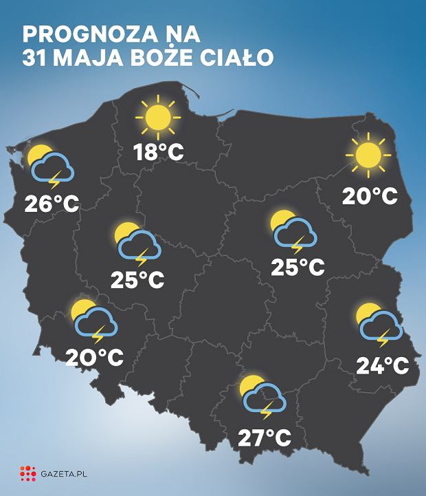 Prognoza pogody na 31 maja (Boże Ciało)