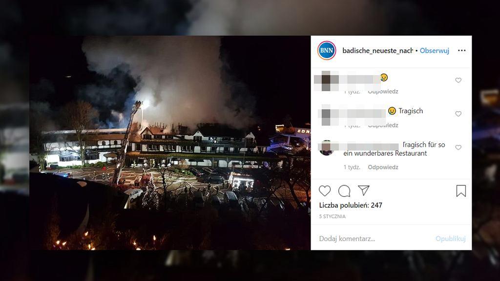 Niemiecka restauracja 'Schwarzwaldstube' odznaczona trzema gwiazdkami przez Przewodnik Michelina spłonęła w sobotnią noc 4 stycznia 2020 roku