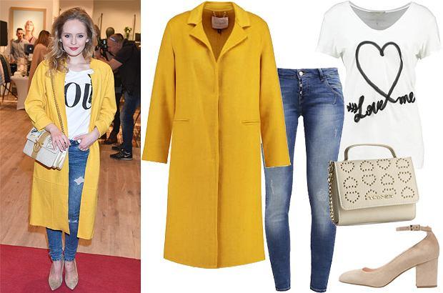 Olga Kalicka - stylizacja z żółtym płaszczem