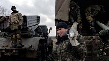 Ukraińscy żołnierze w pobliżu Debalcewego 8 lutego