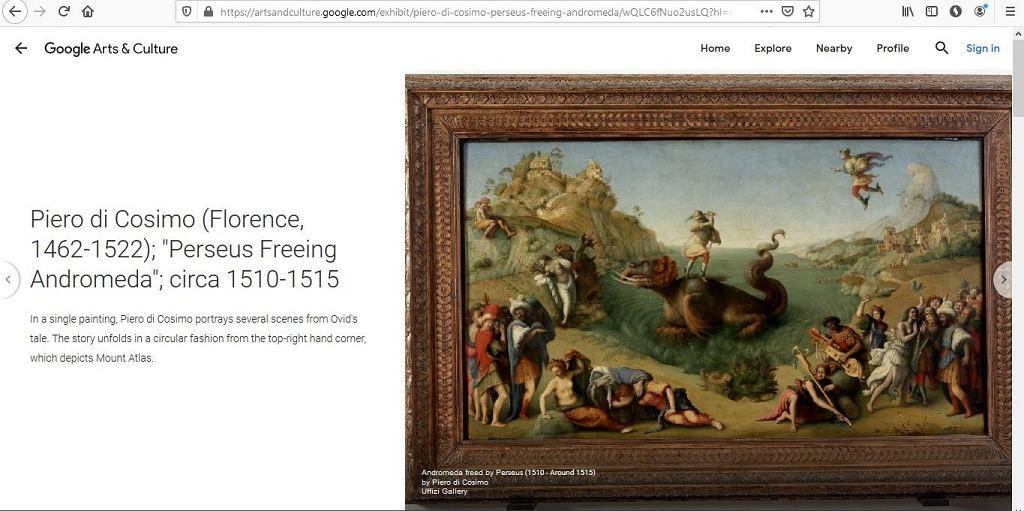 Jeden z obrazów z Galerii Uffizzi, które zobaczyć można na stronie Google Arts & Culture (skan strony)
