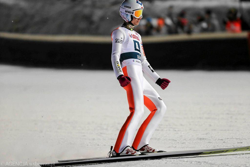 Kamil Stoch podczas konkursu drużynowego w Zakopanem
