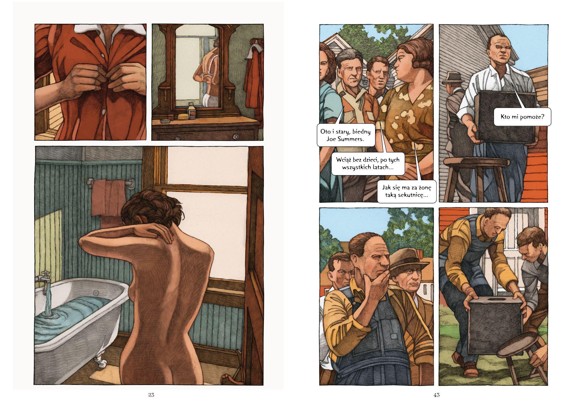 Kadry z 'Loterii' Milesa Hymana na podstawie opowiadania Shirley Jackson / Fot. materiały wydawnictwa Marginesa