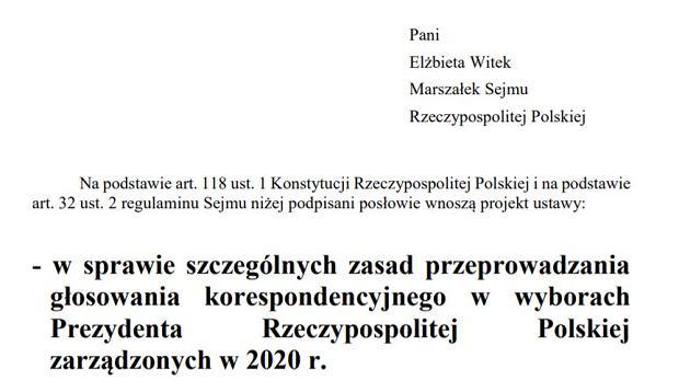 Projekt ustawy o głosowaniu korespondencyjnym