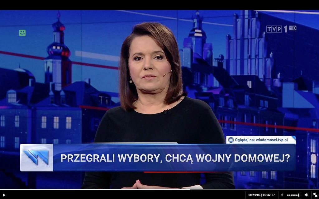 'Wiadomości' TVP zatytułowali materiał odnoszący się do polityków PO 'Przegrali wybory, chcą wojny domowej'