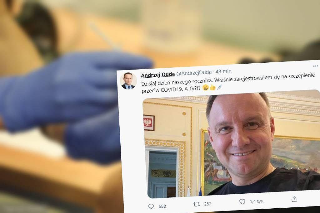 Prezydent Andrzej Duda zarejestrował się na szczepienie przeciwko koronawirusowi