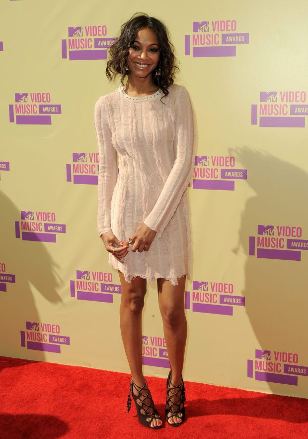 Actress Zoe Saldana arrives at the MTV Video Music Awards on Thursday, Sept. 6, 2012, in Los Angeles. (Photo by Jordan Strauss/Invision/AP)