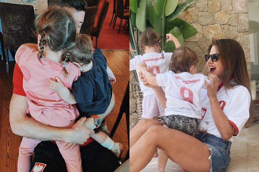 Robert i Anna Lewandowscy z córkami