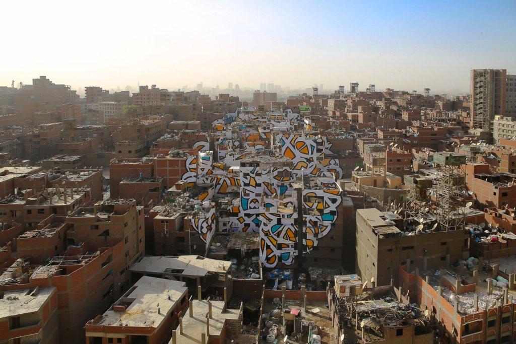 Gigantyczny mural w Kairze