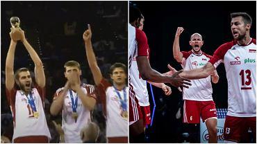 Wygrana Polski w Lidze Światowej w 2012 roku (po lewej) i Polacy podczas półfinału Ligi Narodów w 2021 roku (po prawej)