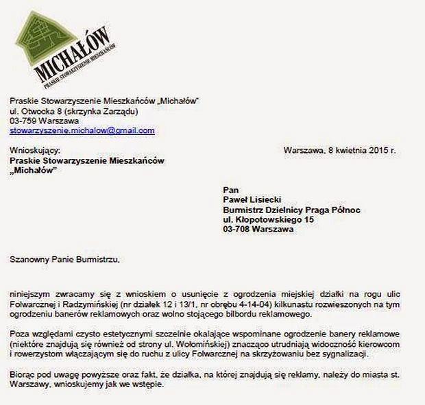 Pismo wysłane do praskiego ratusza przez Stowarzyszenie 'Michałów' ws. nielegalnych reklam