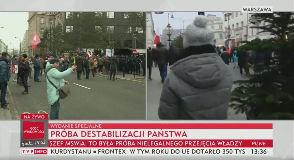 TVP Info o protestach w Warszawie