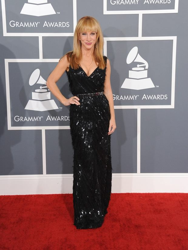 Kathy Griffin arrives at the 55th annual Grammy Awards on Sunday, Feb. 10, 2013, in Los Angeles.  (Photo by Jordan Strauss/Invision/AP)