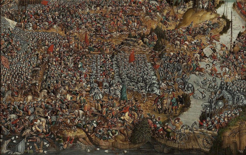 Krąg Lucasa Cranacha Starszego (1472-1553) - Hans Krell (?) (ok. 1490 -1565). Bitwa pod Orszą 8 września, 1514, ok. 1530, obraz na desce / Materiały prasowe Muzeum Narodowego w Warszawie