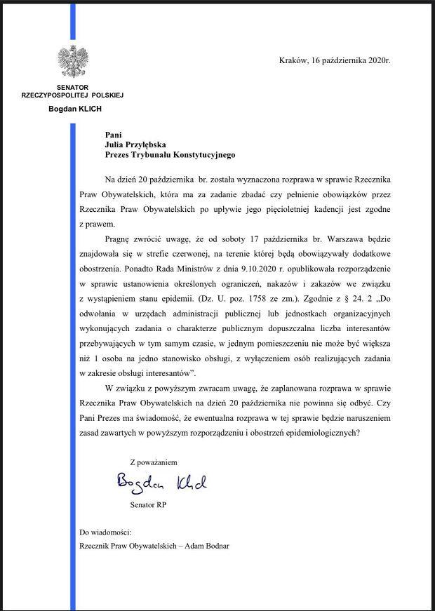 Pismo senatora Bogdana Klicha do prezes TK.