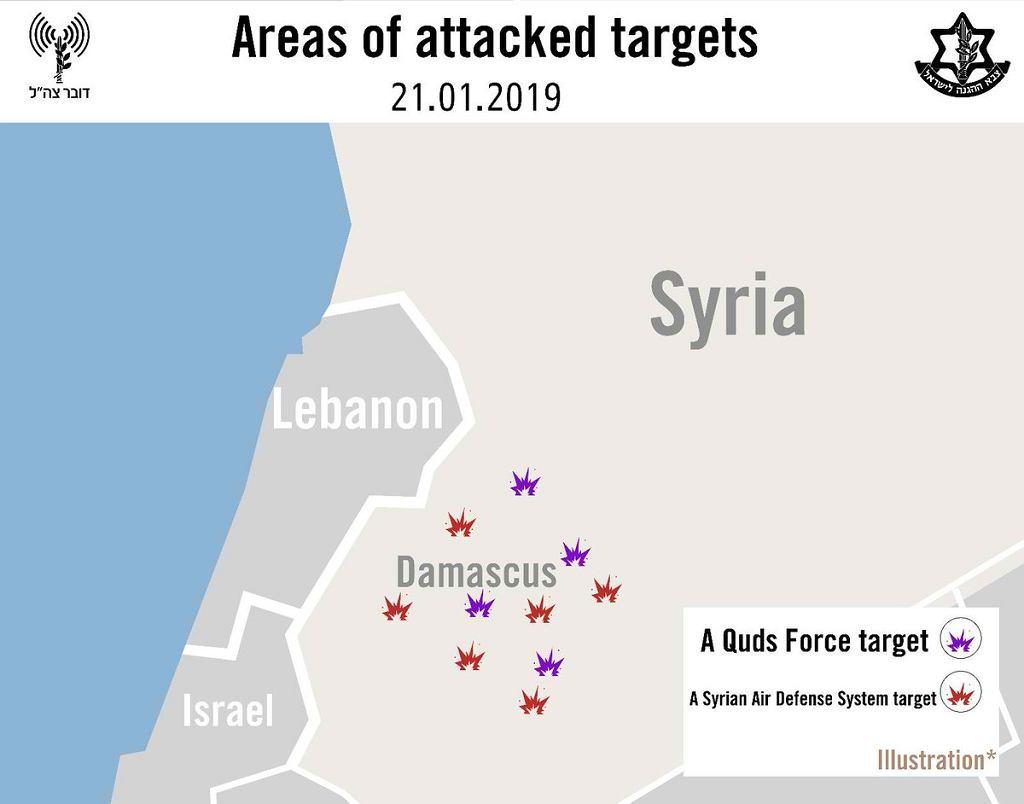 Orientacyjna skala niedzielnego ataku według izraelskiego wojska