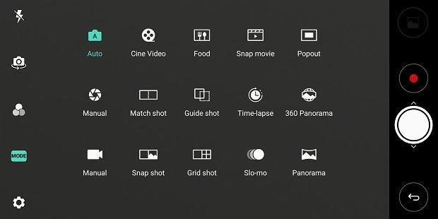 Tryby pracy aparatu w LG V30