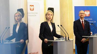 Minister finansow w rządzie PiS Teresa Czerwińska podczas konferencji prasowej dot. ePIT. Warszawa, Ministerstwo Finansów, 14 lutego 2018