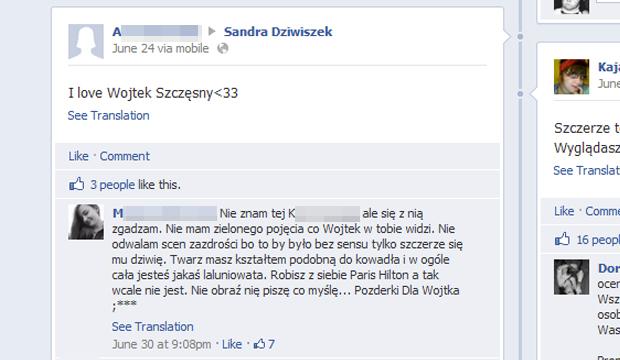 Wojciech Szczęsny, Sandra Dziwiszek