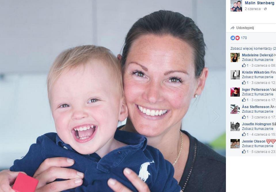 Malin Stenberg ze swoim synem, Vincentem