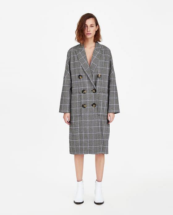 Zara - dwurzędowy płaszcz w kratę; cena 199,00 zł (stara cena 349,00 zł)