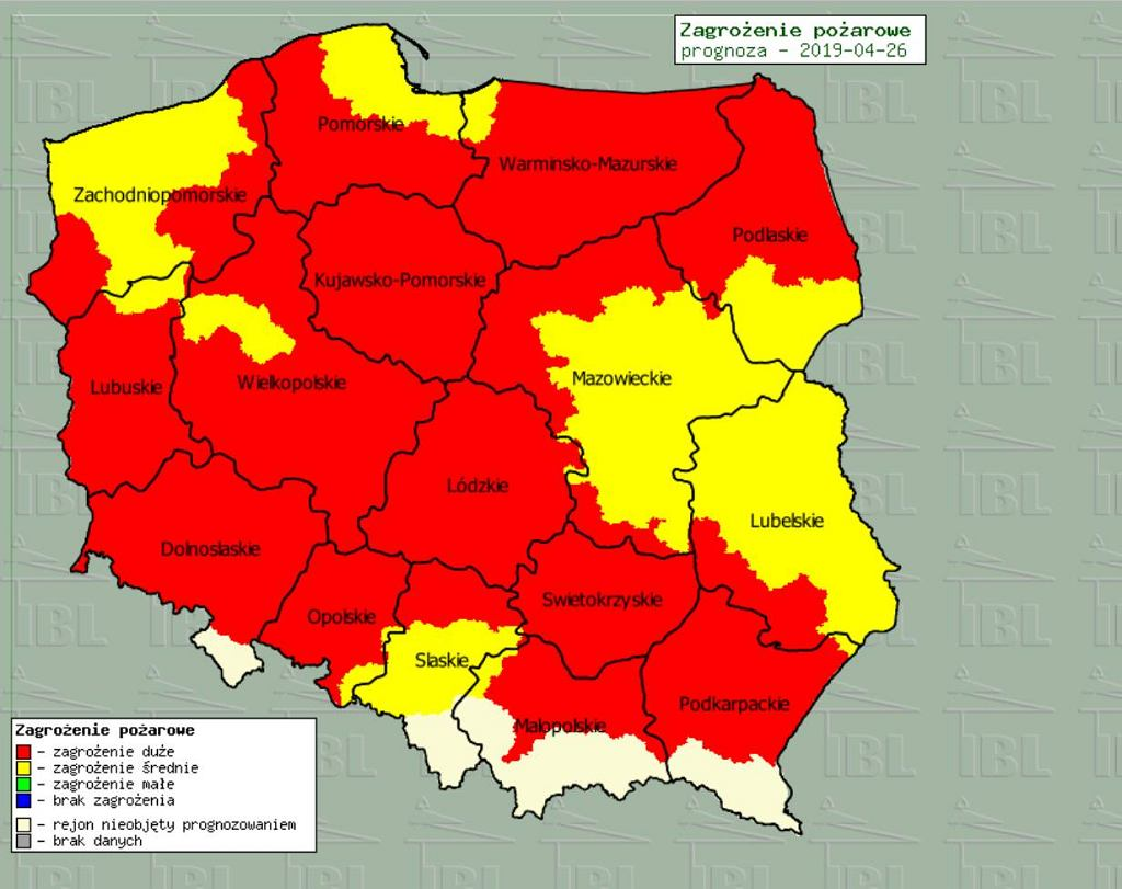 Mapa zagrożenia pożarowego w Polsce udostępniona przez Instytut Badawczy Leśnictwa