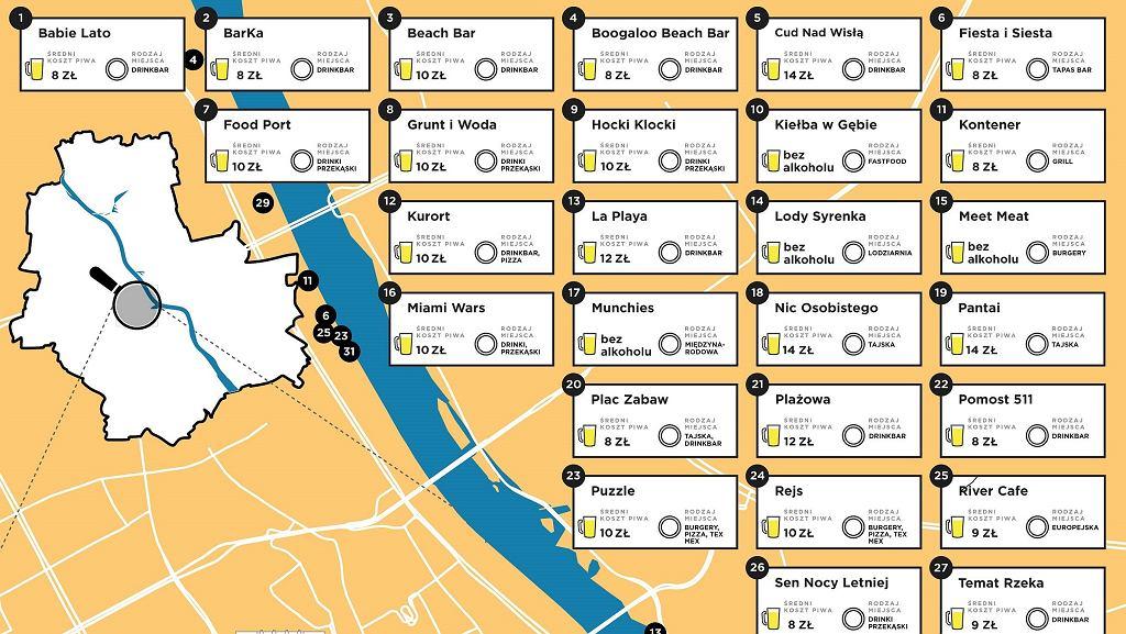 Mapka nadwiślańskich knajp