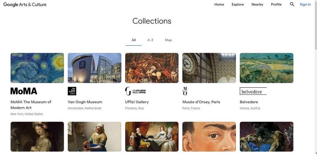 Wyszukiwarka projektu Google Arts & Culture (skan strony)