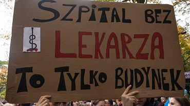 Protest lekarzy pod KPRM, Warszawa 14.10.2017.