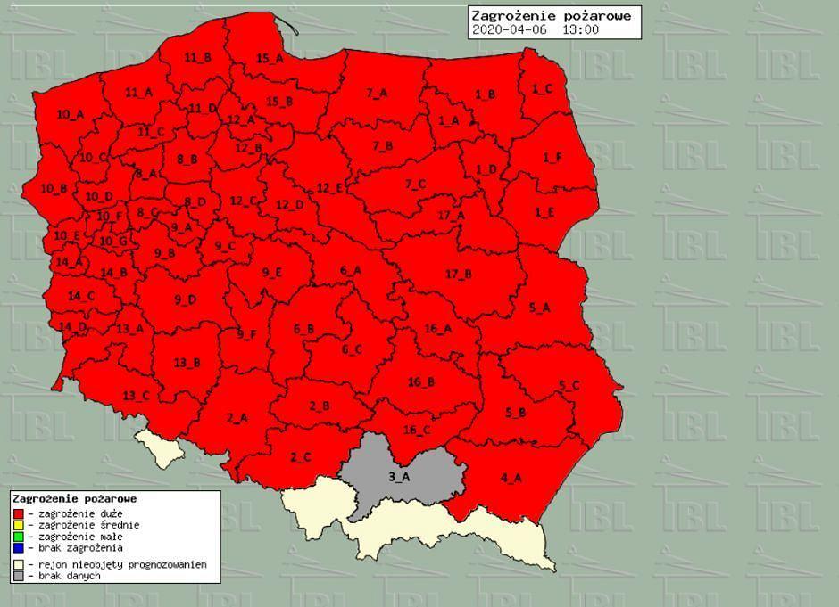 Mapa zagrożenia pożarowego, dane z 6.04