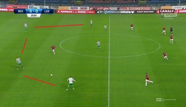 Rozegranie od tyłu - Peszko i Haraslin wysoko w roli skrzydłowych. Blok obronny przesuwa się w lewo, a Sławczew ustawia się z prawej strony.