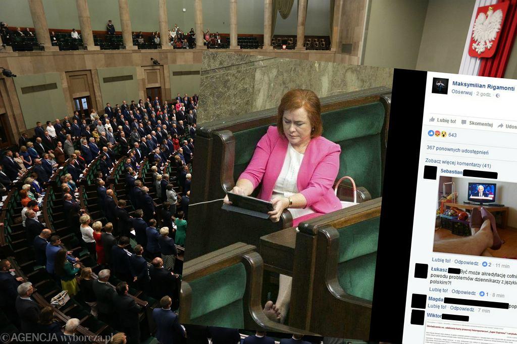 Sala plenarna Sejmu i bosa posłanka