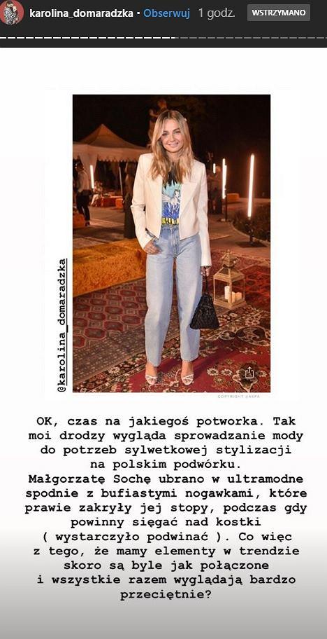 Małgorzata Socha w ogniu krytyki