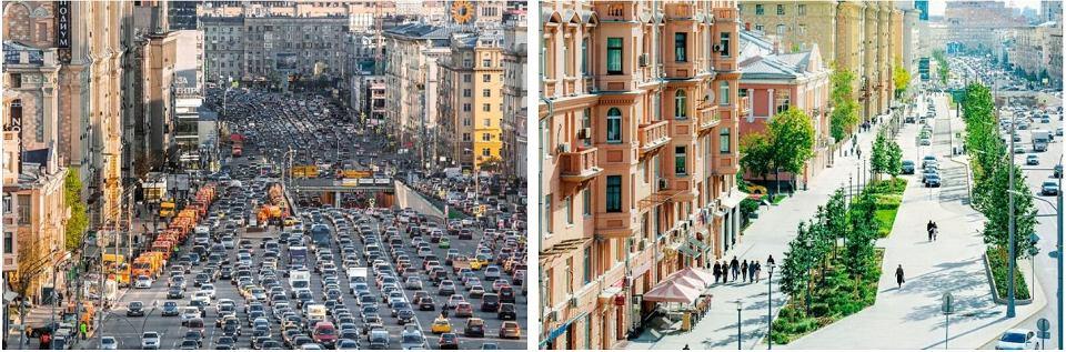 Ulica Twierskaja w Moskwie. Po lewej - przed rewitalizacją, po prawej - odnowiona i przebudowana tak, by bardziej odpowiadała na potrzeby mieszkańców miasta.