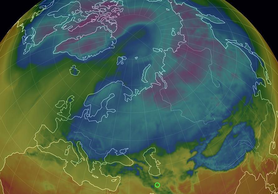 Rozkład temperatur na półkoli północnej
