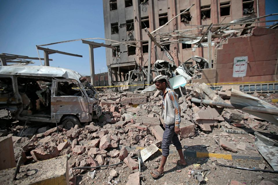 Zniszczona bombardowaniami Sana, stolica Jemenu.
