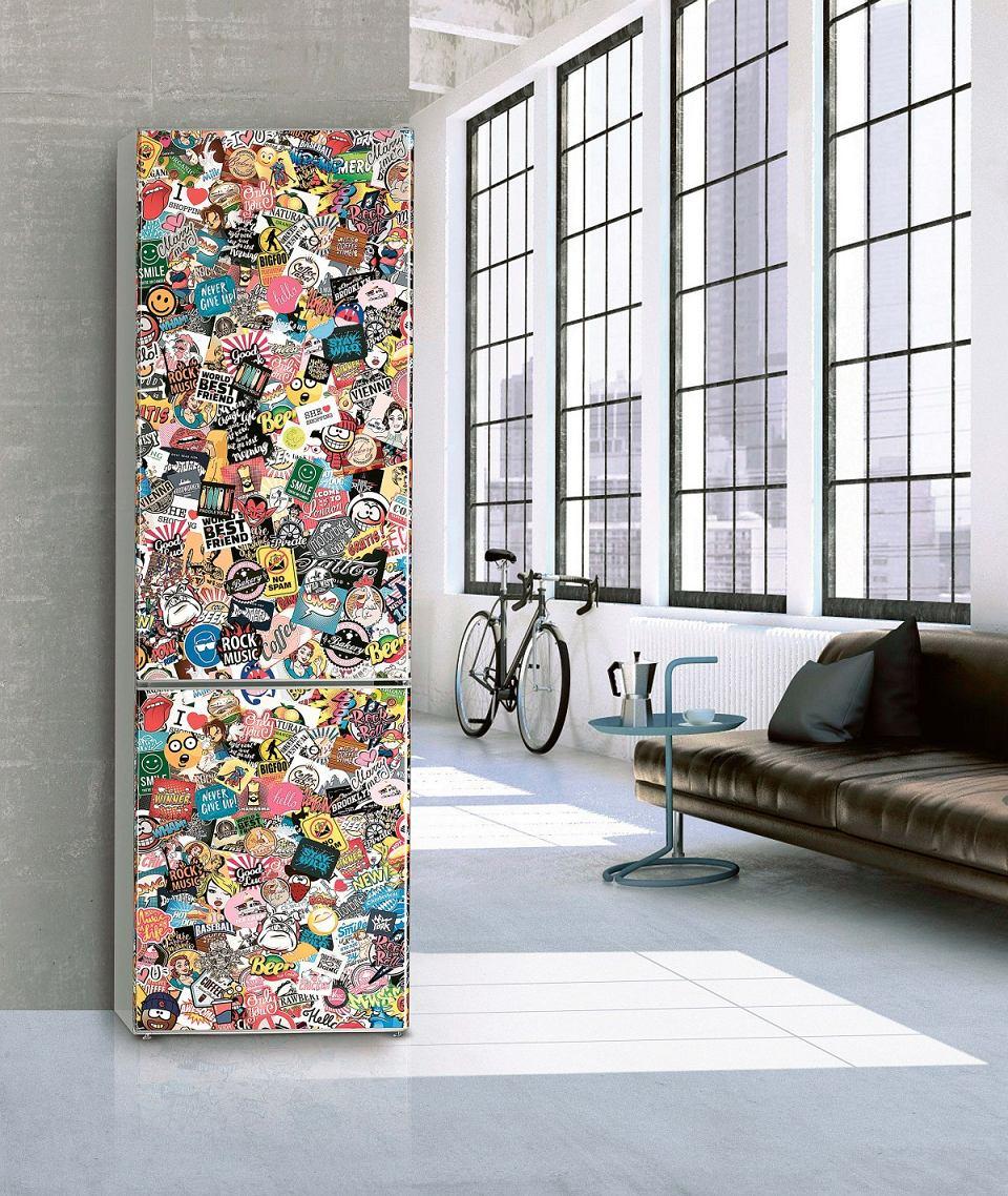 Lodówka z serii ColourLine zfrontem pokrytym barwną grafiką