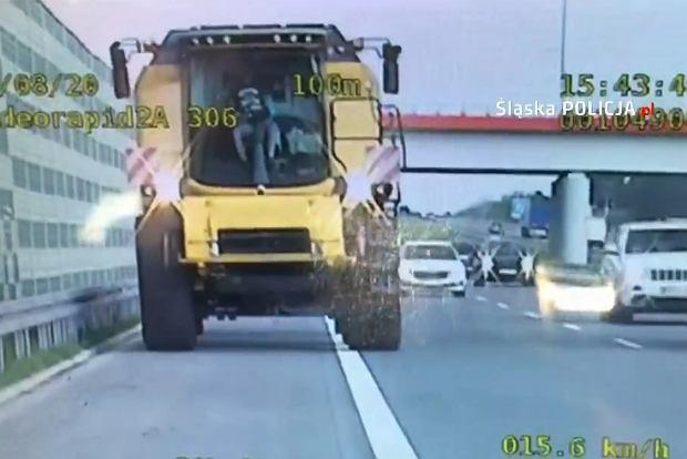 Kombajnem jechał po autostradzie A1. Policja publikuje szokujące nagranie