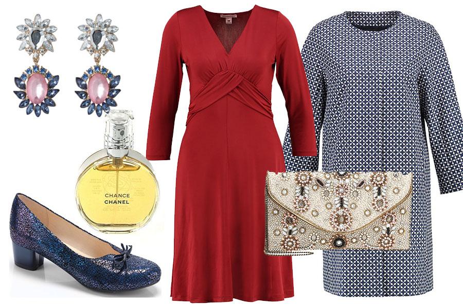 Świąteczna stylizacja z czerwoną sukienką
