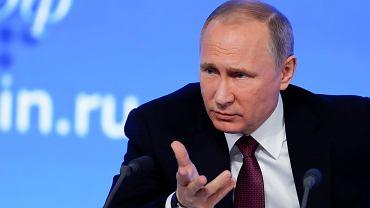 Prezydent Rosji Władimir Putin podczas dorocznej konferencji prasowej dla mediów, 23 grudnia 2016 r.