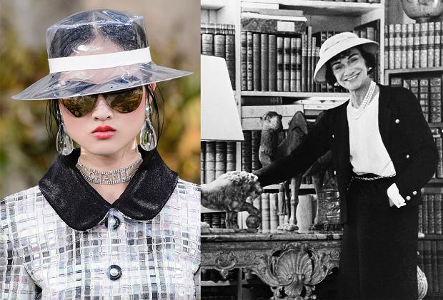 Kapelusze Chanel wczoraj i dziś: po lewej model z kolekcji wiosna/lato 2018, po prawej Gabrielle Chanel
