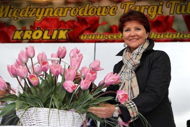 Jolanta Kwaśniewska i tulipany jej imienia