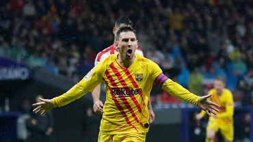 Laureat Złotej Piłki Leo Messi w meczu Atletico Madryt - FC Barcelona