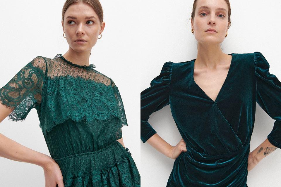 Szmaragdowe sukienki z długim rękawem