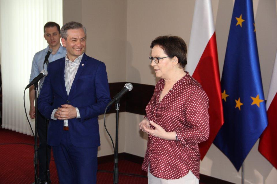 Spotkanie premier Ewy Kopacz z prezydentem Słupska Robertem Biedroniem